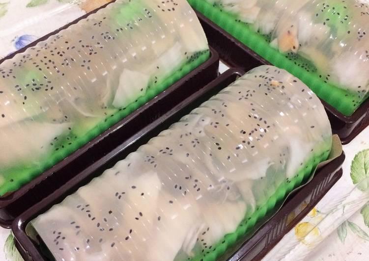 cara membuat puding kelapa muda pandan susu